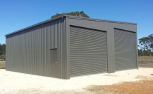 Skillion 2 bay shed with PA Door