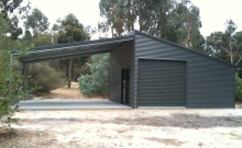 Skillion Shed with open lean-to