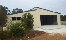 Skillion shed with enclosed lean to for machinery