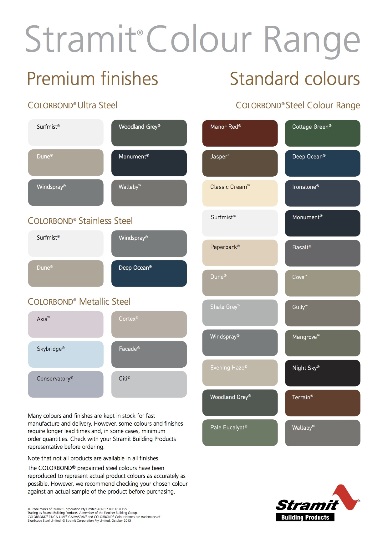 Stratco Roofing Colours